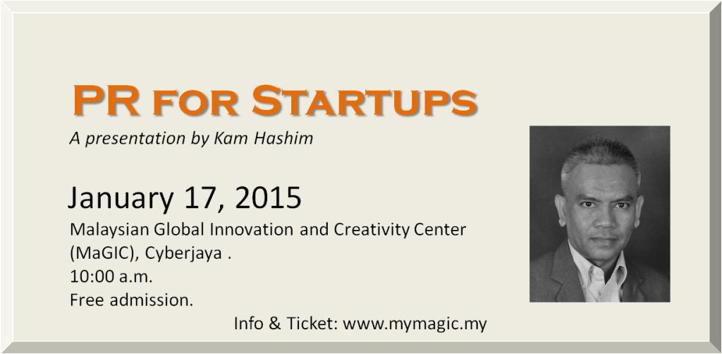 An invitation to a talk on PR for Startups at MaGIC in Cyberjaya